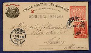 Peru- Postcard, Higgins and Gage 55a, Lima-Germany 1904, Uprated with Scott 144