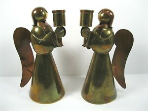 Holiday Pair of copper and brass Christmas angel candle holders  Sanborns Mexico