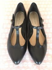BLACK Leather T-Bar MARY JANE Shoes 6 UK / 39 Eu | COSPLAY New Look NEW Low Heel