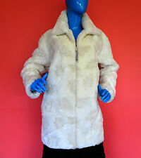 White Textured Faux Fur Plush Winter Coat M Medium 10 12 14 Soft Warm Canada