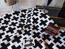 50cm black cross white cotton lycra 95/5 4 way stretch knit fabric monochrome
