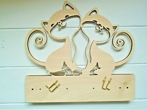Wooden Cat Key Holder- 4 hooks included ideal new home gift birthday cat lover