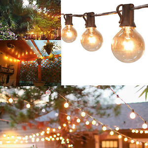 50FT GLOBE FESTOON STRING LIGHTS MAINS POWERED 50 G40 5BULBS WARM WHITE OUTDOOR