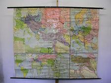 alte Schulwandkarte Erster Weltkrieg 1914-18 WWI Verdun Sedan Maas 195x162~1960