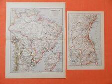 BRASILIEN  Amazonas Rio de Janeiro 2 x KARTE 1893 Landkarte