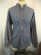 Mens DUCKHEAD Distressed 100% Blue Denim Cotton Western Cowboy Work Shirt sz L