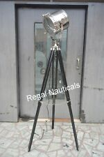 DESIGNER SPOT CHROME SEARCH LIGHT WITH FLOOR NAUTICAL MARINE TRIPOD LAMP
