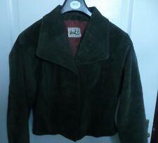 Vintage 80s suede boxy short shrug batwing jacket. Lined. Bottle / Ivy green. 12