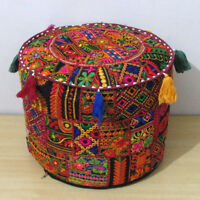 Vintage Ottoman Pouf Cover Indian Patchwork Handmade Pouffe Stool Decor Round