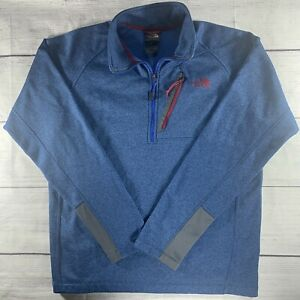 North Face Medium 1/4 Quarter Zip Sweater Mens Long Sleeve Pocket Blue Pullover