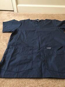 LANDAU Uniform Medical Short Sleeve Scrub Top Adult Shirt Sz Small Blue