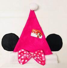 Disney Pink Minnie Mouse Ears Santa Felt Christmas Hat Pink Polka Dot Bow New