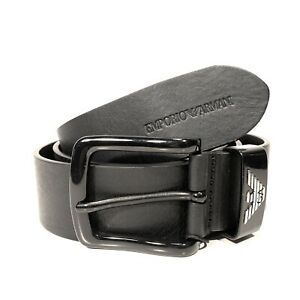 EMPORIO ARMANI Mens Logo Buckle Calf Leather Belt Black (MSRP $295)