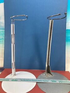 """2 USED METAL DOLL STANDS, 8"""" BASE, 14"""" UPRIGHT, WHITE AND GRAY"""
