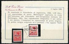 JUGOSLAVIA Yugoslavia : Francobollo con SOPRASTAMPA di PROVA: MONTENEGRO - DIENA