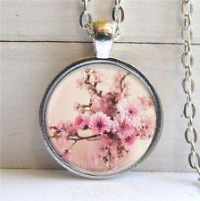 Vintage Cabochon Glass pink flowers necklace Silver/Black/bronze pendants