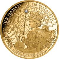 Niue 2020 Queen Elizabeth II Long May She Reign QEII 1 Oz Pure Gold w/ Diamond