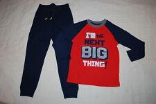 Boys Orange Shirt Waffle Knit Im The Next Big Thing Navy Blue Sweatpants Size 6