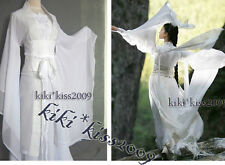 China Tan Dynasty Sword Fairy Girl's White HanFu Cosplay Chiffon Kimono Dress