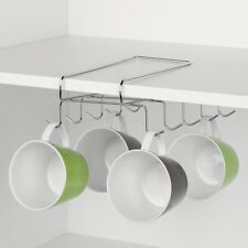 Tassenhalter, chrom, Halter für Tassen, Aufsteckbar am Regalboden, Küchenschrank