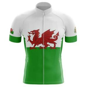 Team Wales Flag Cycling Jersey Short sleeve Pro Clothing Bike Bicycle Gear