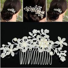 Vintage Look Wedding Bridal Rhinestones Pearl Beads Flower Leaf Hair Comb Pin
