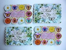 *PUNCH STUDIO Set of 4 Die Cut Blank Note Cards ~Butterflies ~ Floral ~Thank You