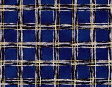 Sparkle Navy Blue Gold Metallic Check Robert Kaufman Fabric 1/2 Yard
