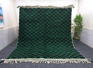 "Moroccan Handmade Beni Ourain Rug 8'3""x10' Berber Checkered Green Black Wool Rug"