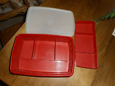 Vintage Tupperware Stow N Go Craft Box w/ Tray Red Sewing Tackle Money