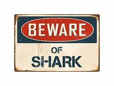 "Beware Of Shark Retro Tin Metal Sign Wall Decor 8"" x 12"""