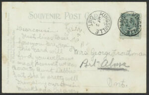 Canada 1910 Postcard: Kingsville, to Merlin, ON - Redirected to Port Alma - ph48