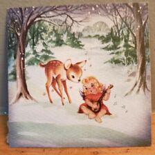 Vintage MCM Unbranded Christmas Card Front Fawn Forest Angel Mandolin