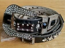 NEW Western Cowgirl Cowboy Crystal Studded Bling Rhinestone Glass Leather Belt L