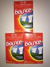 Bounce Outdoor Fresh Dryer Sheets 3 Boxes 15 per box, 45 Total Travel Convenient