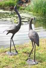 Pair Of cranes garden ornament Birds cast iron bronze effect finish