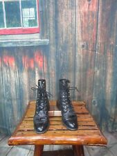 Ladies Black Justin  Leather Roper Lace Up Boots Sz:6 B