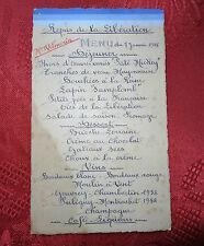 Rare menu repas de la libération du 7 janvier 1945 WW2