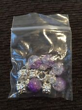 Set Of 5 Purple and Silver Look Charms for jewelry making