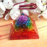Extra Large 60-70MM Multi 7 Chakra Natural Crystal Tree of Life Orgone Pyramid