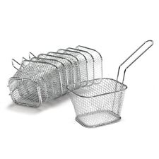 8x Mini Eckig Frittierkorb Metall Pommes Korb Frituese Pommesschale Servierkorb@