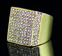 Mens Pinky Ring Cz Flat Screen Square Luxury 14k Gold Plated Hip Hop Jewelry