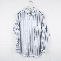 Vintage LACOSTE White & Blue Striped Shirt Size Mens Large /R15069