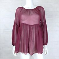 American Eagle Size Medium Sheer Blouse Top Long Sleeve Burgundy Babydoll Peplum