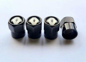 Renault wheel valve stem caps / Tyre cap - Set of 4 - Black - Free Post