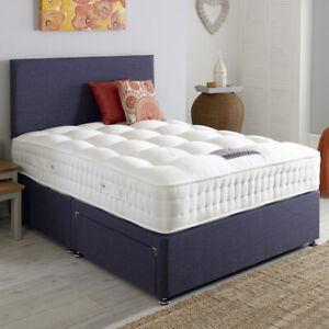 Plush Velvet Upholstered Fabric Divan Bed Frame with Storage Drawers & Headboard