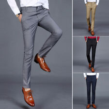 Brand Fashion New thin Slim Fit Polyester Cotton Suit Pants Men Business TP
