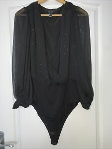 NEW LOOK BLACK CHIFFON WRAP SPARKLY LONG PUFF SLEEVE BODYSUIT SIZE 18 NEW