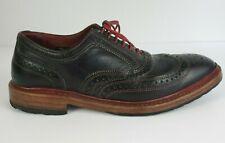 ALLEN EDMONDS Size 7.5 E WIDE Ridgeway Wingtip Contrast Brogue Black Dress Shoes