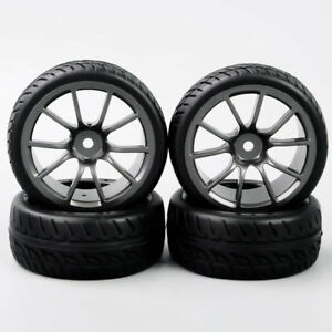 4X 1/10 RC On-Road Racing Car Rubber Tires & Wheels Rim For HPI HSP Car Model